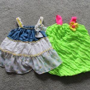 Lot of 2 Sz 12-18 M Summer Jumper Dress Ruffles
